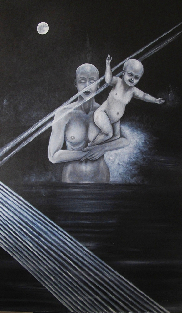 mother and child at the crossing